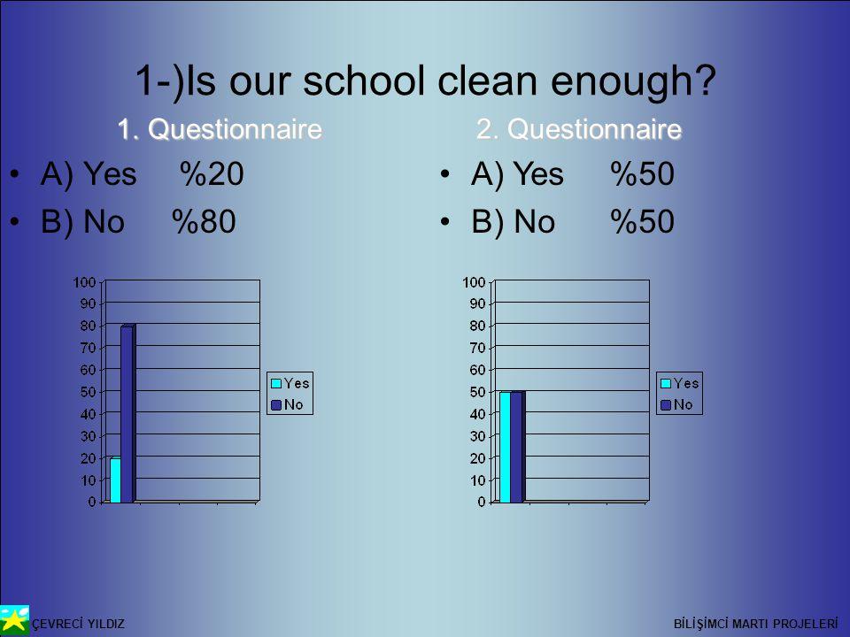 ÇEVRECİ YILDIZ BİLİŞİMCİ MARTI PROJELERİ 1-)Is our school clean enough.