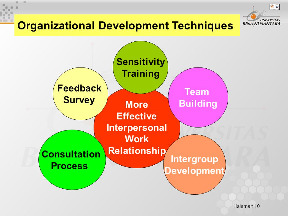 Halaman 10 Organizational Development Techniques More Effective Interpersonal Work Relationship Sensitivity Training Intergroup Development Team Building Consultation Process Feedback Survey