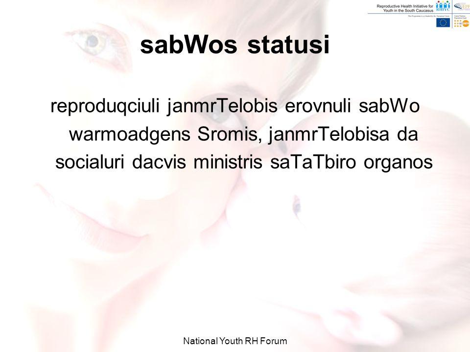 National Youth RH Forum sabWos statusi reproduqciuli janmrTelobis erovnuli sabWo warmoadgens Sromis, janmrTelobisa da socialuri dacvis ministris saTaTbiro organos