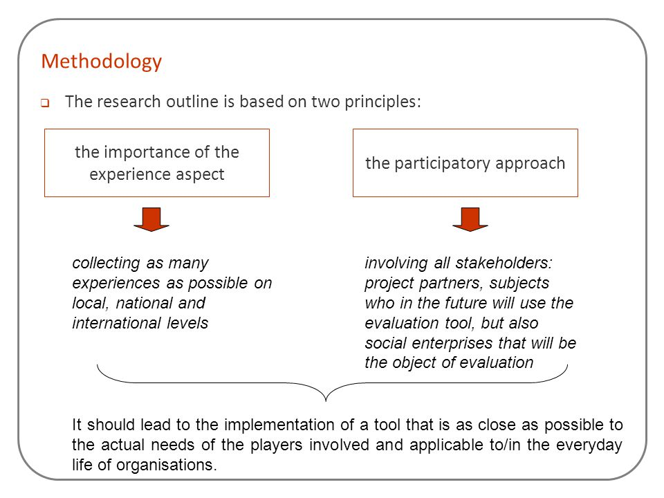 Methodology  The research outline is based on two principles: the importance of the experience aspect the participatory approach collecting as many e