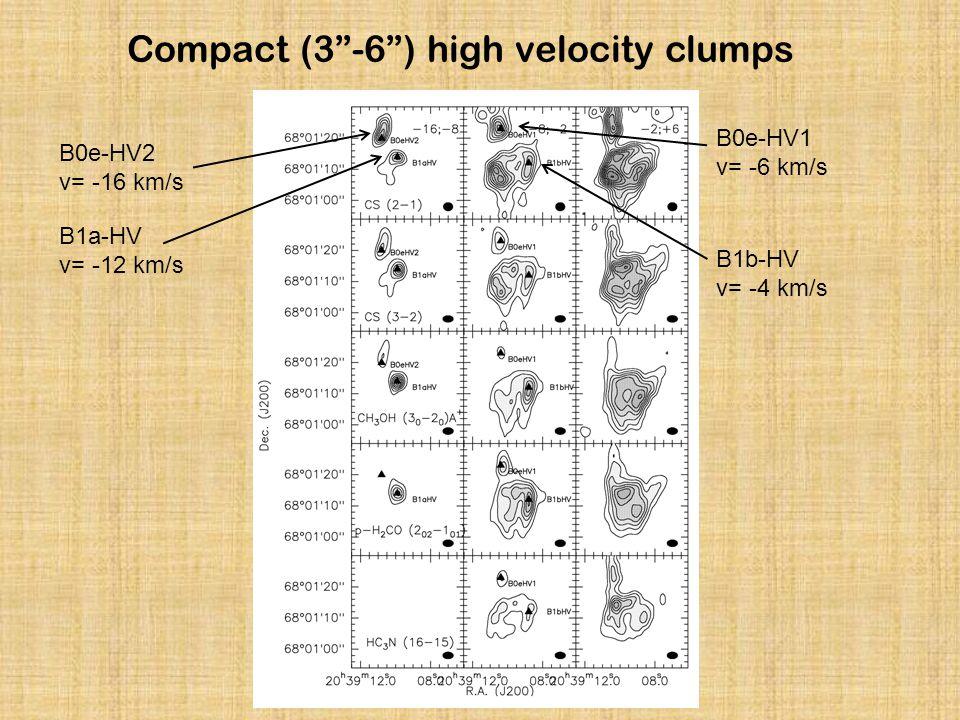 Compact (3 -6 ) high velocity clumps B0e-HV2 v= -16 km/s B1a-HV v= -12 km/s B1b-HV v= -4 km/s B0e-HV1 v= -6 km/s