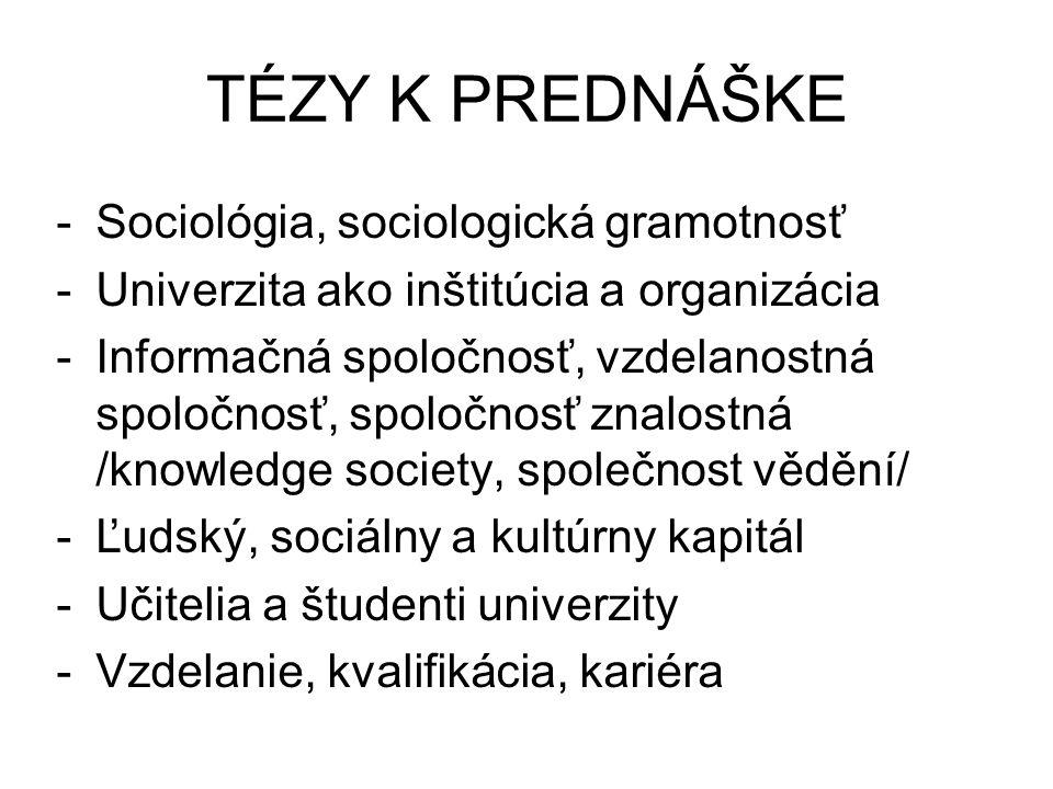 TÉZY K PREDNÁŠKE -Sociológia, sociologická gramotnosť -Univerzita ako inštitúcia a organizácia -Informačná spoločnosť, vzdelanostná spoločnosť, spoločnosť znalostná /knowledge society, společnost vědění/ -Ľudský, sociálny a kultúrny kapitál -Učitelia a študenti univerzity -Vzdelanie, kvalifikácia, kariéra