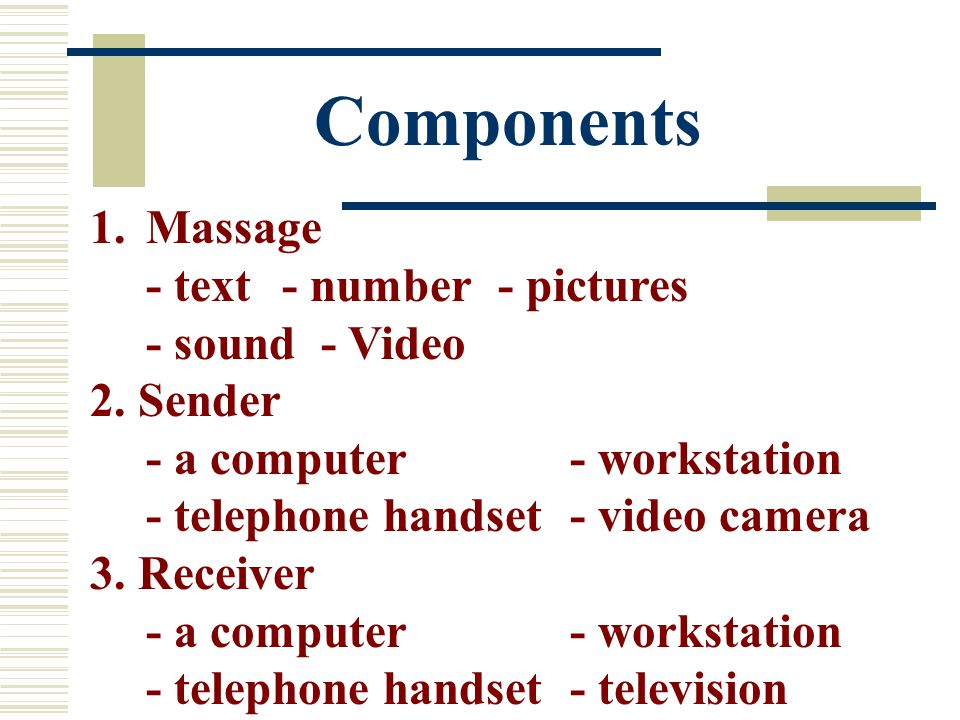 Components 1.Massage - text- number - pictures - sound - Video 2. Sender - a computer- workstation - telephone handset - video camera 3. Receiver - a