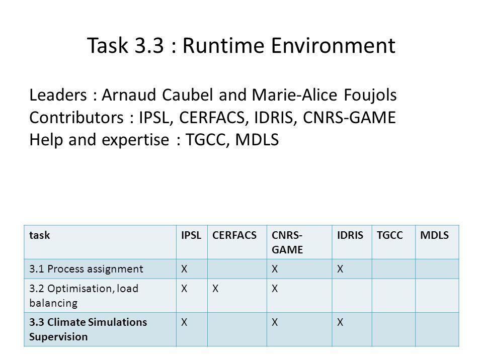 Task 3.3 : Runtime Environment Leaders : Arnaud Caubel and Marie-Alice Foujols Contributors : IPSL, CERFACS, IDRIS, CNRS-GAME Help and expertise : TGC