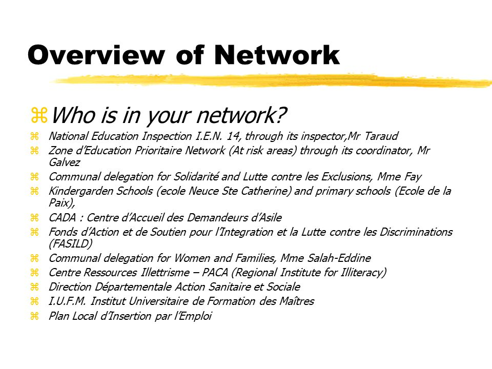 Overview of Network zWho is in your network. zNational Education Inspection I.E.N.