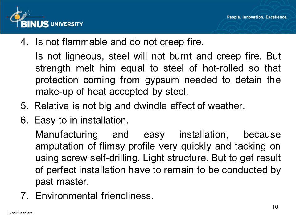 Bina Nusantara 10 4.Is not flammable and do not creep fire.