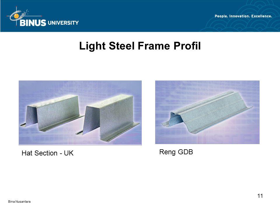 Bina Nusantara 11 Light Steel Frame Profil Hat Section - UK Reng GDB