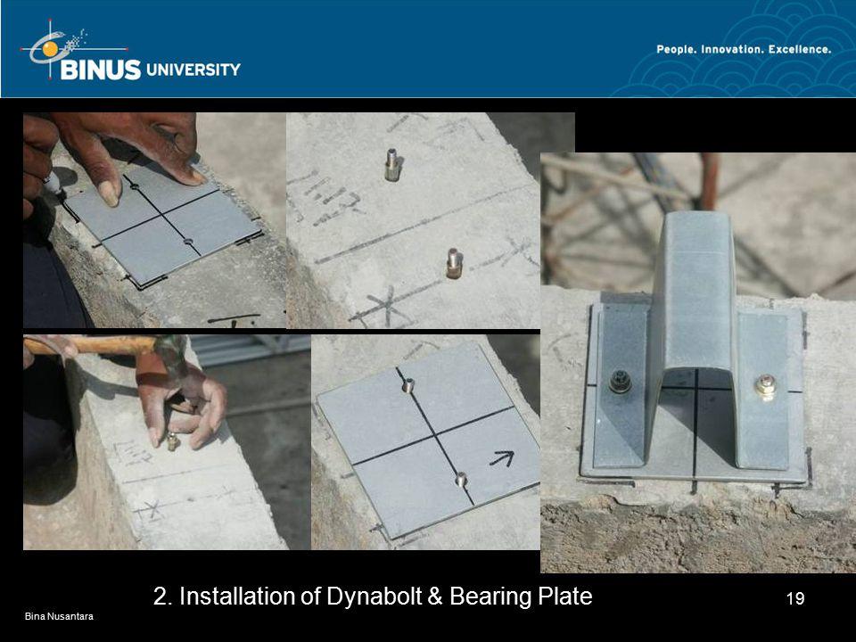 Bina Nusantara 19 2. Installation of Dynabolt & Bearing Plate