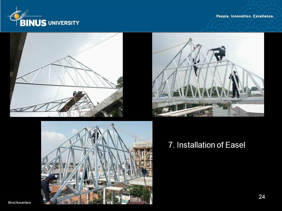 Bina Nusantara 24 7. Installation of Easel