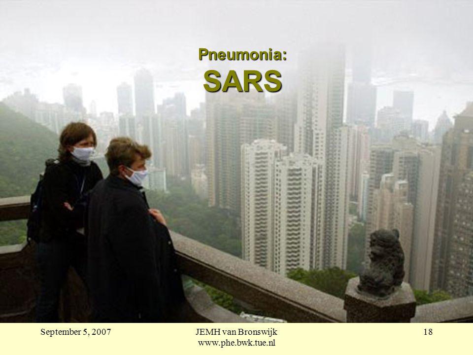 September 5, 2007JEMH van Bronswijk www.phe.bwk.tue.nl 18 Pneumonia: SARS