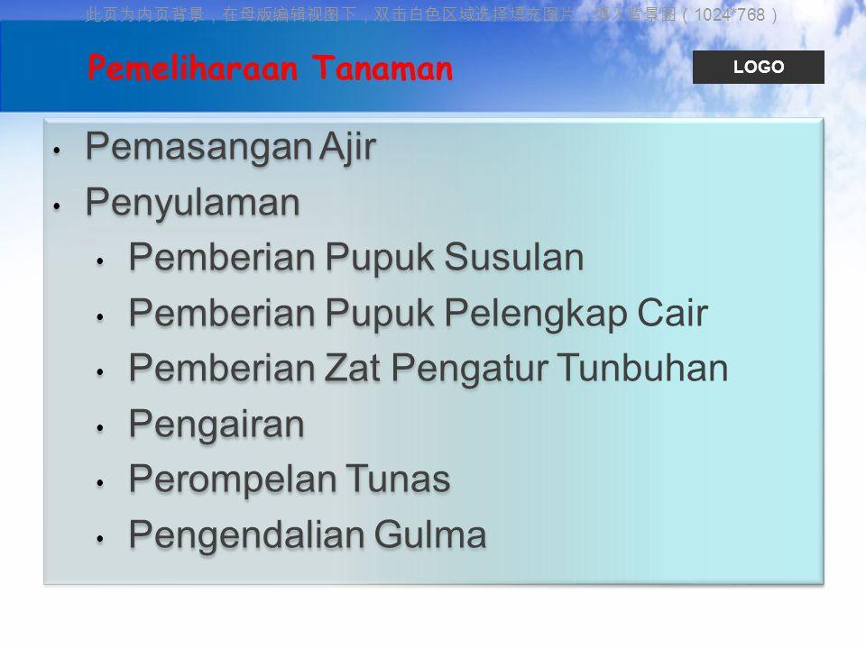 此页为内页背景,在母版编辑视图下,双击白色区域选择填充图片,填入背景图( 1024*768 ) LOGO Pemasangan Ajir Penyulaman Pemberian Pupuk Susulan Pemberian Pupuk Pelengkap Cair Pemberian Zat P