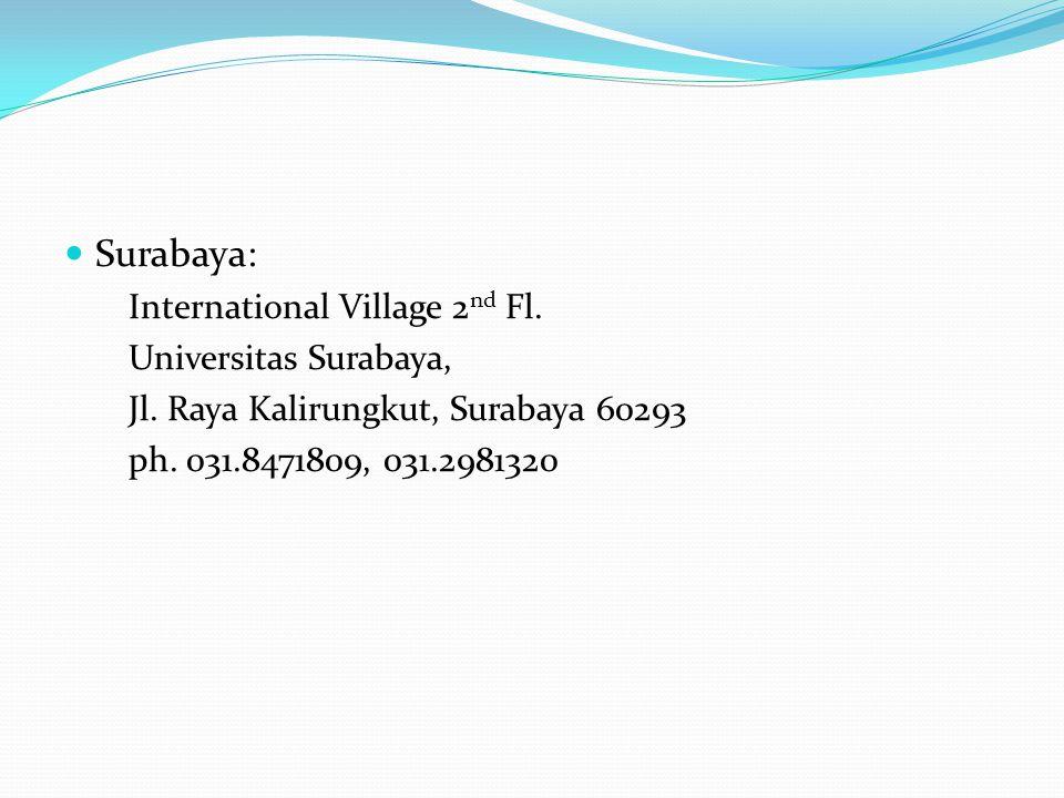 Surabaya: International Village 2 nd Fl.Universitas Surabaya, Jl.