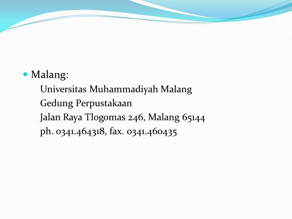 Malang: Universitas Muhammadiyah Malang Gedung Perpustakaan Jalan Raya Tlogomas 246, Malang 65144 ph.