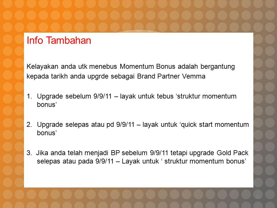 11 Info Tambahan Kelayakan anda utk menebus Momentum Bonus adalah bergantung kepada tarikh anda upgrde sebagai Brand Partner Vemma 1.Upgrade sebelum 9