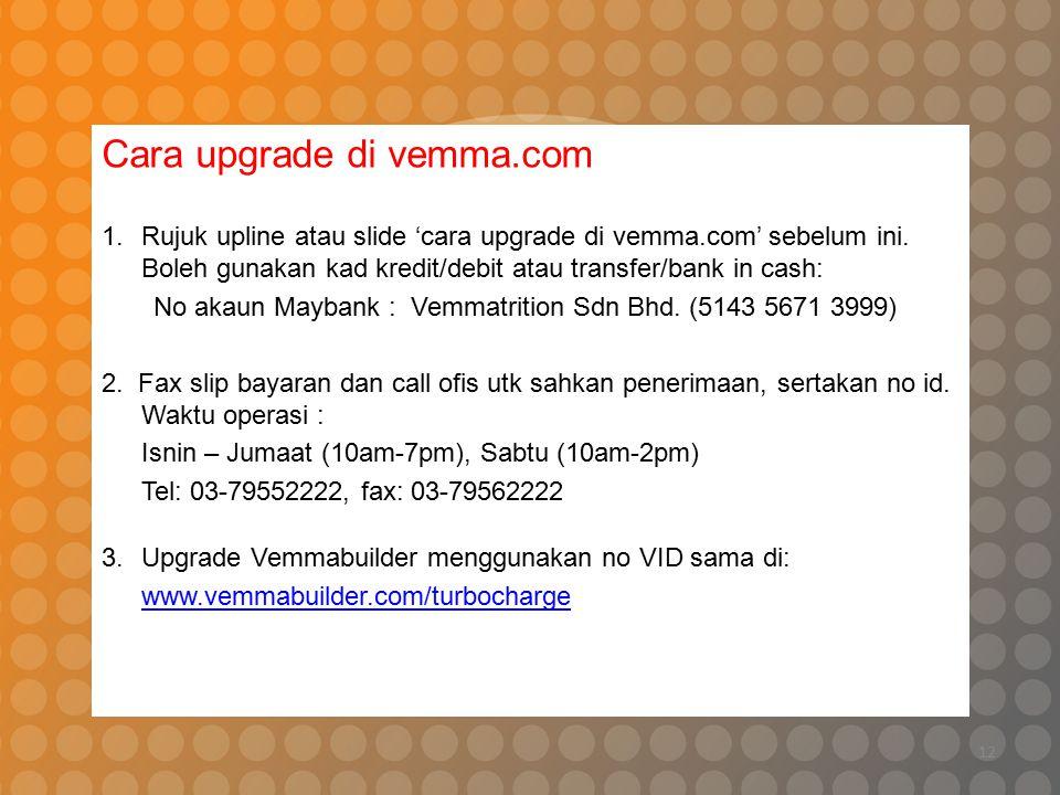 12 Cara upgrade di vemma.com 1.Rujuk upline atau slide 'cara upgrade di vemma.com' sebelum ini. Boleh gunakan kad kredit/debit atau transfer/bank in c
