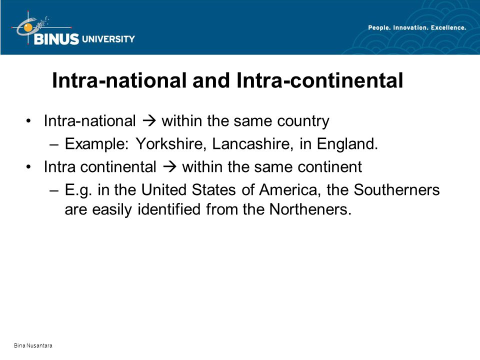 Bina Nusantara Intra-national and Intra-continental Intra-national  within the same country –Example: Yorkshire, Lancashire, in England.