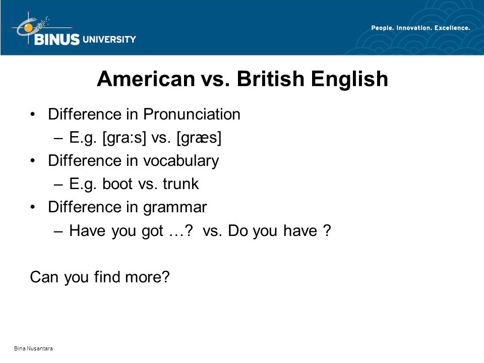 Bina Nusantara American vs. British English Difference in Pronunciation –E.g.
