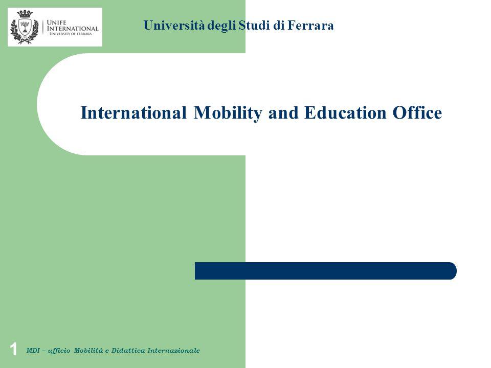 1 Università degli Studi di Ferrara MDI – ufficio Mobilità e Didattica Internazionale International Mobility and Education Office