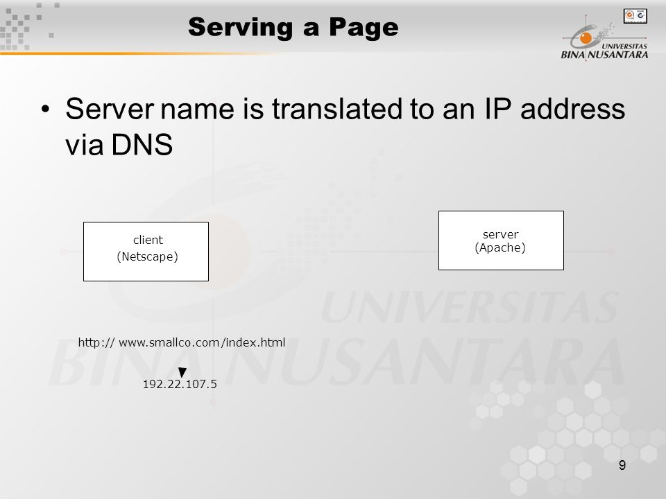 9 Serving a Page Server name is translated to an IP address via DNS http://www.smallco.com/index.html 192.22.107.5 (Netscape) server (Apache) client