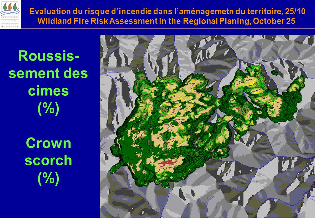 Evaluation du risque d'incendie dans l'aménagemetn du territoire, 25/10 Wildland Fire Risk Assessment in the Regional Planing, October 25 Roussis- sement des cimes (%) Crown scorch (%)