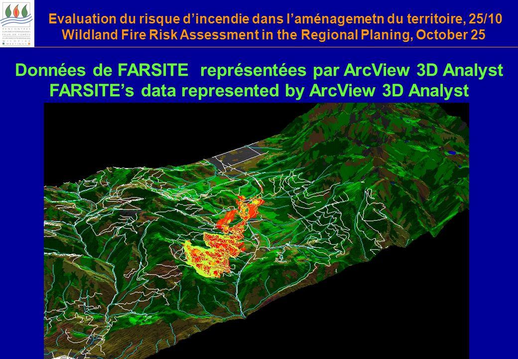 Evaluation du risque d'incendie dans l'aménagemetn du territoire, 25/10 Wildland Fire Risk Assessment in the Regional Planing, October 25 Données de FARSITE représentées par ArcView 3D Analyst FARSITE's data represented by ArcView 3D Analyst