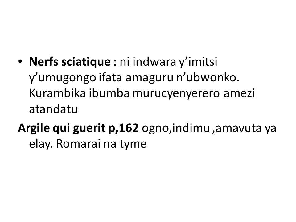 Nerfs sciatique : ni indwara y'imitsi y'umugongo ifata amaguru n'ubwonko. Kurambika ibumba murucyenyerero amezi atandatu Argile qui guerit p,162 ogno,