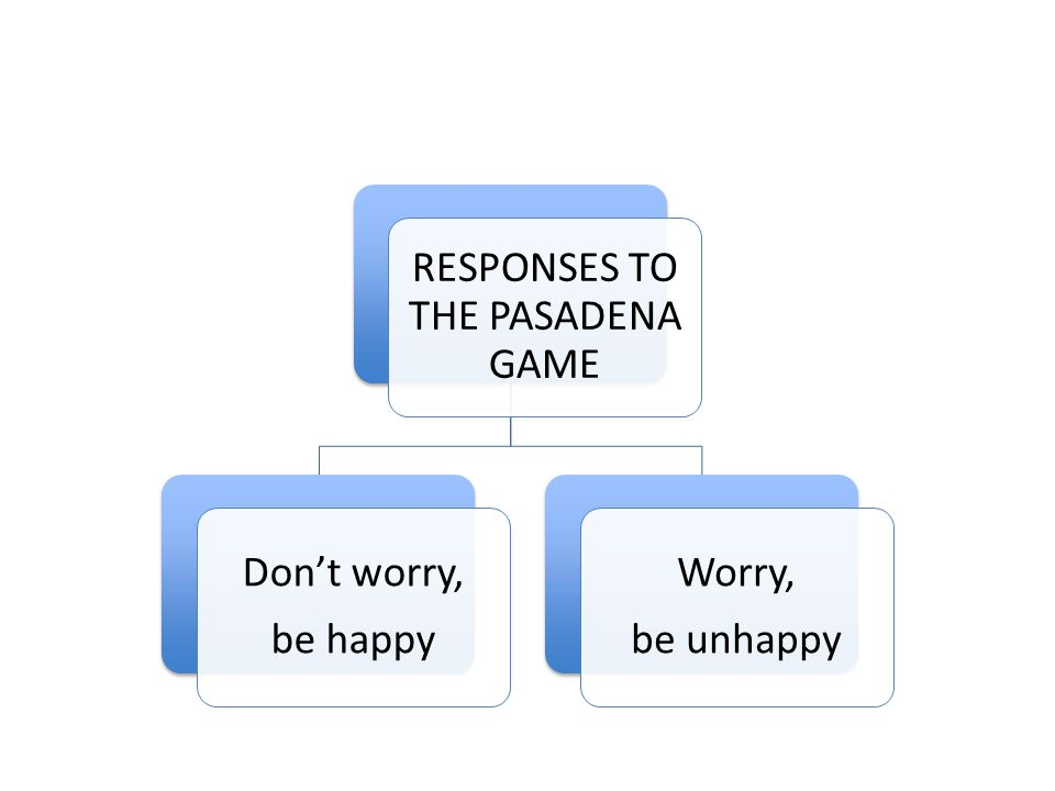 RESPONSES TO THE PASADENA GAME Don't worry, be happy Worry, be unhappy
