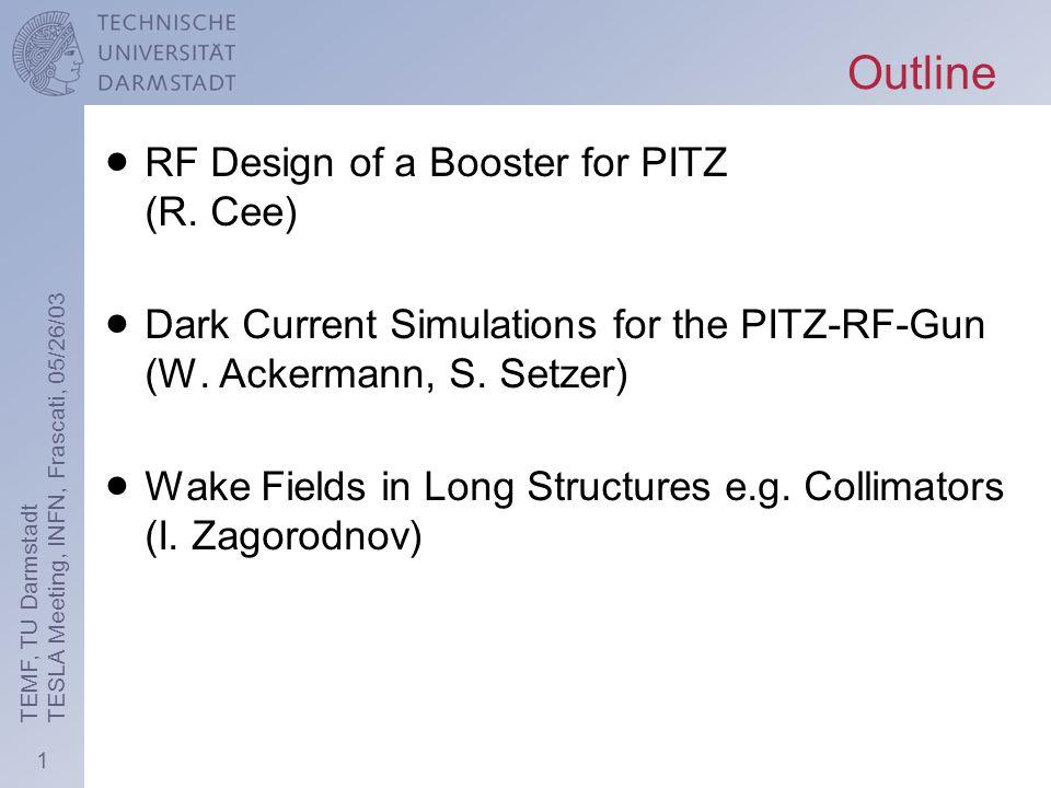 12 TEMF, TU Darmstadt TESLA Meeting, INFN, Frascati, 05/26/03 Dark current vs.