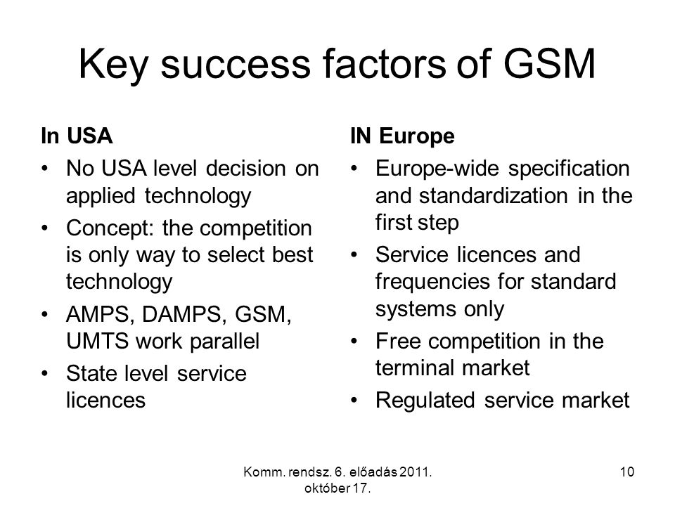 10 Key success factors of GSM In USA No USA level decision on applied technology Concept: the competition is only way to select best technology AMPS,