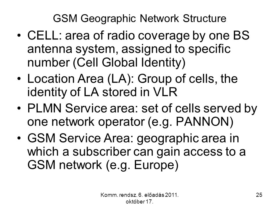 Komm. rendsz. 6. előadás 2011. október 17. 25 GSM Geographic Network Structure CELL: area of radio coverage by one BS antenna system, assigned to spec