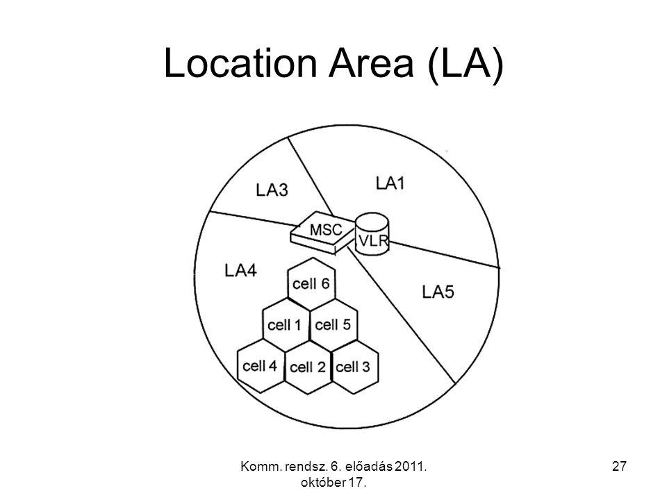 Komm. rendsz. 6. előadás 2011. október 17. 27 Location Area (LA)