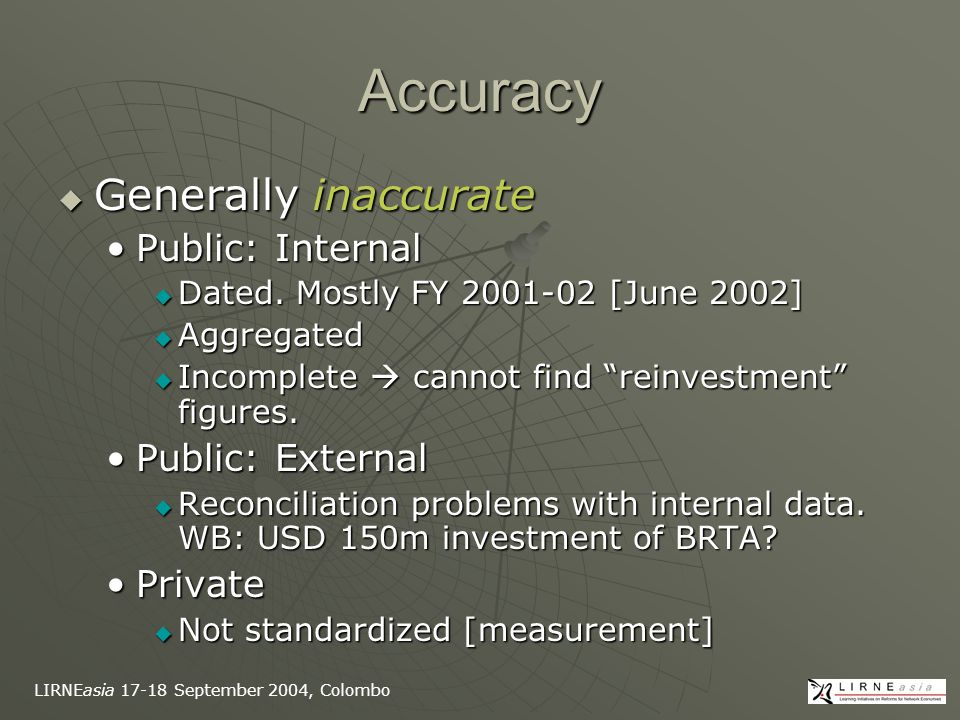LIRNEasia 17-18 September 2004, Colombo Accuracy  Generally inaccurate Public: InternalPublic: Internal  Dated.