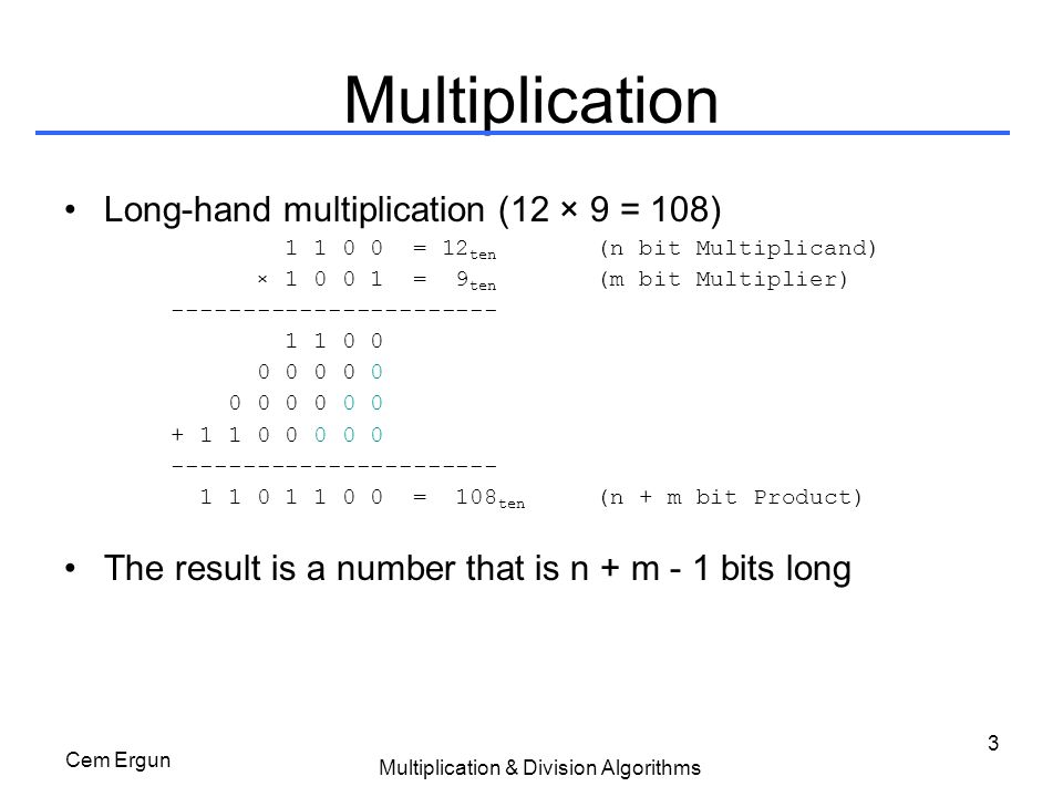 Cem Ergun Multiplication & Division Algorithms 14 Solution #3: Operations
