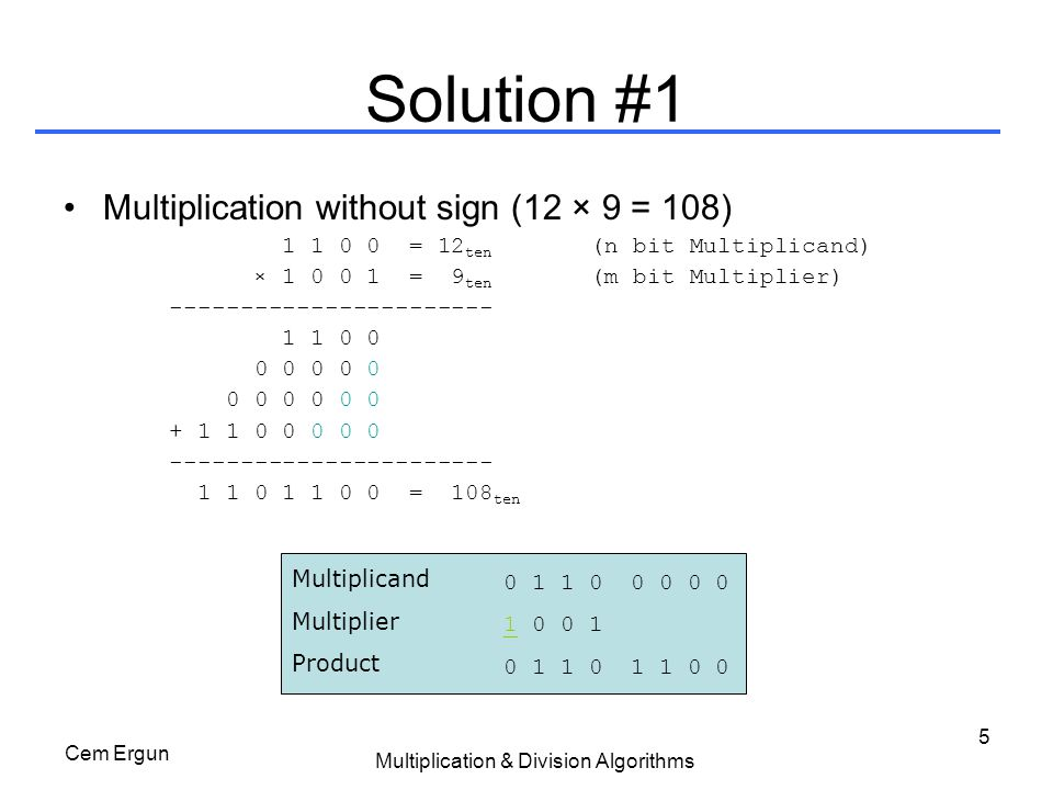 Cem Ergun Multiplication & Division Algorithms 16 Solution #3: Hardware Product Multiplicand 32-bit ALU Control 32 bits 64 bits MultiplierUpper 32 bits Add Write Shift Right LSB