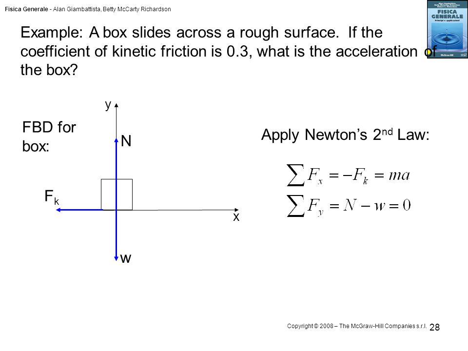 Fisica Generale - Alan Giambattista, Betty McCarty Richardson Copyright © 2008 – The McGraw-Hill Companies s.r.l. 28 Example: A box slides across a ro