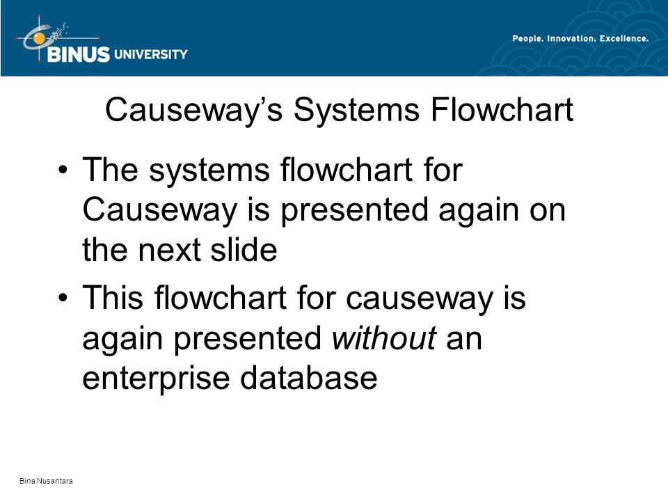 Bina Nusantara Causeway's Systems Flowchart The systems flowchart for Causeway is presented again on the next slide This flowchart for causeway is again presented without an enterprise database