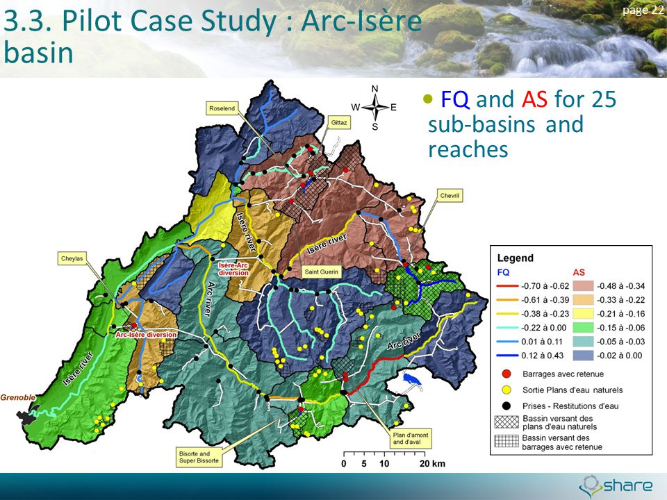 page 22 3.3. Pilot Case Study : Arc-Isère basin FQ and AS for 25 sub-basins and reaches