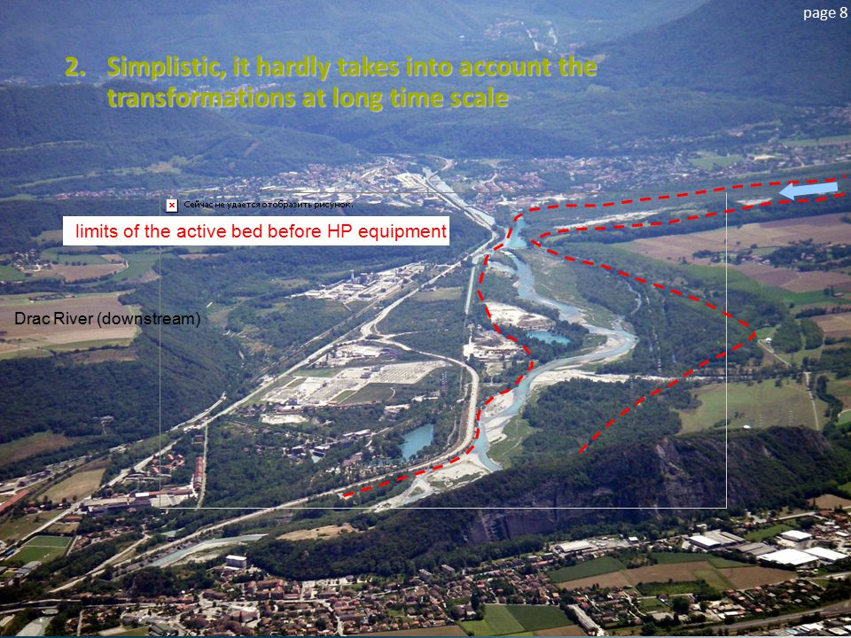 page 8 limits of the active bed before HP equipment 2.Simplistic, it hardly takes into account the transformations at long time scale Drac River (down