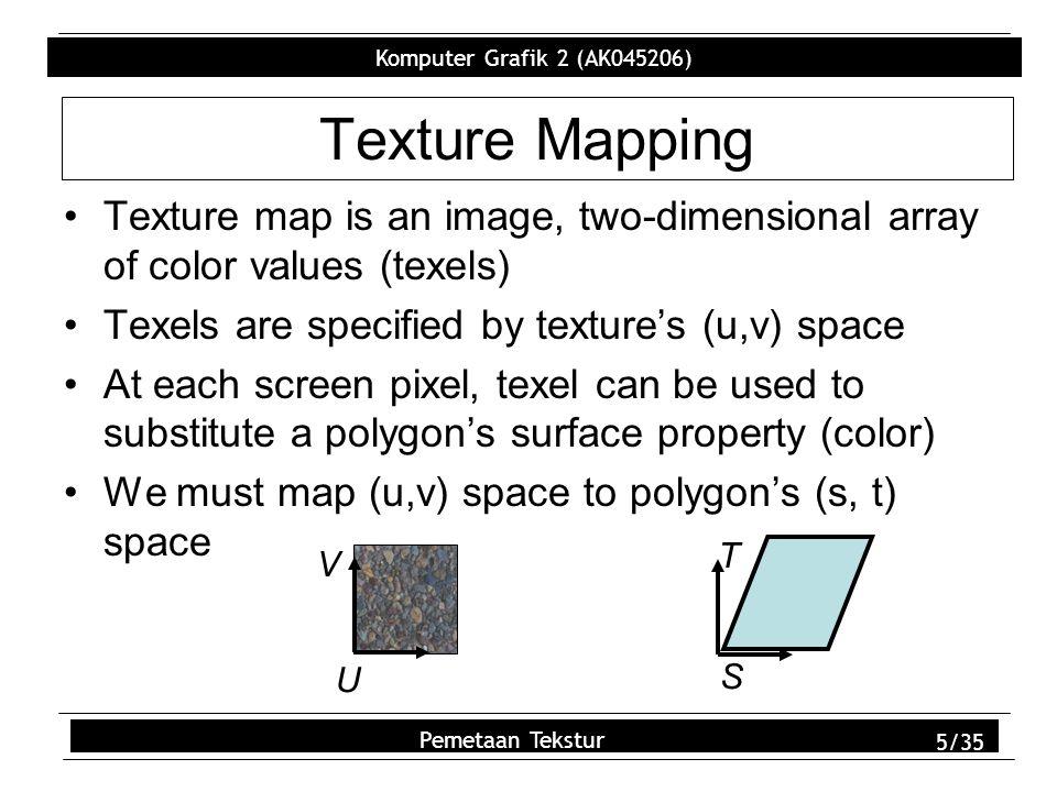 Komputer Grafik 2 (AK045206) Pemetaan Tekstur 16/35 Step 5 – Assign image data –glTexImage2D(); GL_TEXTURE_2D (2D Texture) 0 (level of detail 0) 3 (3 components, RGB) image1->sizeX (size) image1->sizeY (size) 0 (no border pixel) GL_RGB (RGB color order) GL_UNSIGNED_BYTE (unsigned byte data) image1->data (pointer to the data))