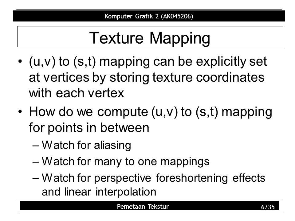 Komputer Grafik 2 (AK045206) Pemetaan Tekstur 27/35 Bump Mapping Use textures to modify surface geometry Use texel values to modify surface normals of polygon Texel values correspond to height field –Height field models a rough surface Partial derivative of bump map specifies change to surface normal