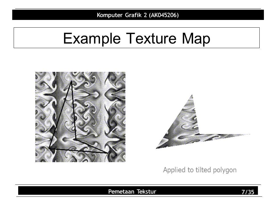 Komputer Grafik 2 (AK045206) Pemetaan Tekstur 8/35 Example Texture Map glVertex3d (s, s, s) glTexCoord2d(1,1); glVertex3d (-s, -s, -s) glTexCoord2d(1,1);