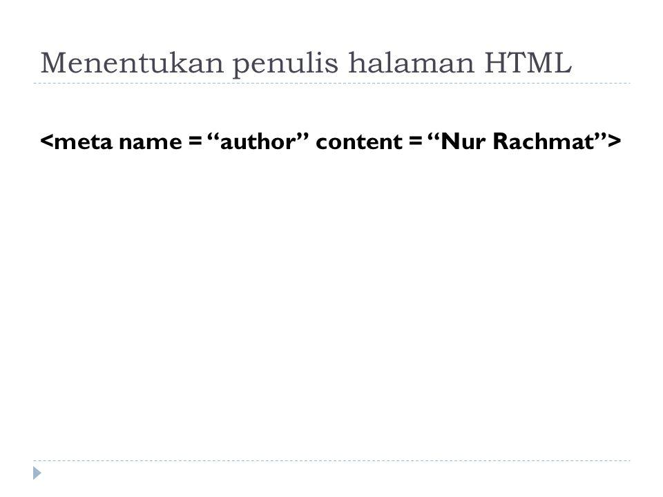 Menentukan penulis halaman HTML
