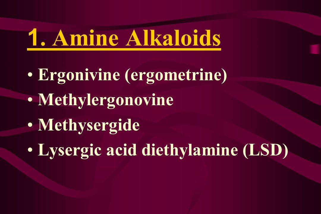 1. Amine Alkaloids Ergonivine (ergometrine) Methylergonovine Methysergide Lysergic acid diethylamine (LSD)