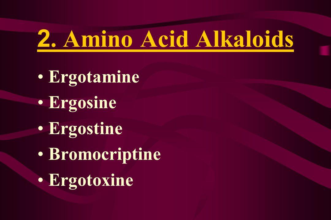 2. Amino Acid Alkaloids Ergotamine Ergosine Ergostine Bromocriptine Ergotoxine