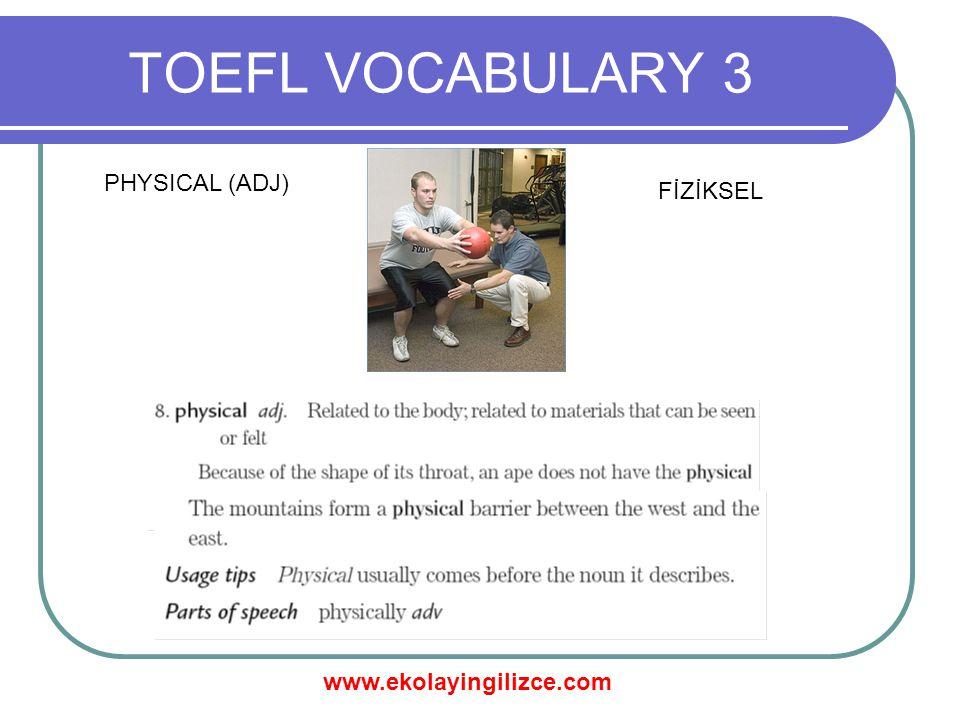 www.ekolayingilizce.com TOEFL VOCABULARY 3 PHYSICAL (ADJ) FİZİKSEL
