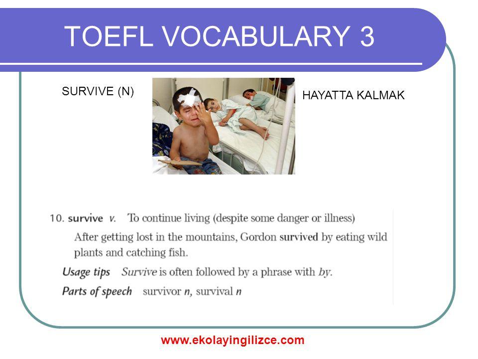 www.ekolayingilizce.com TOEFL VOCABULARY 3 SURVIVE (N) HAYATTA KALMAK