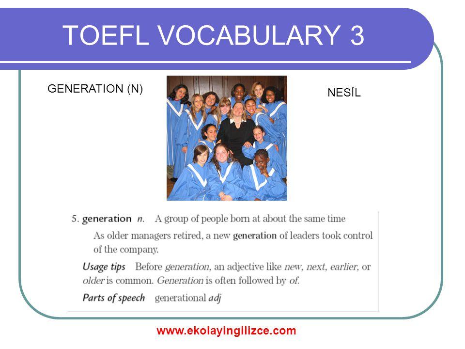 www.ekolayingilizce.com TOEFL VOCABULARY 3 GENERATION (N) NESİL