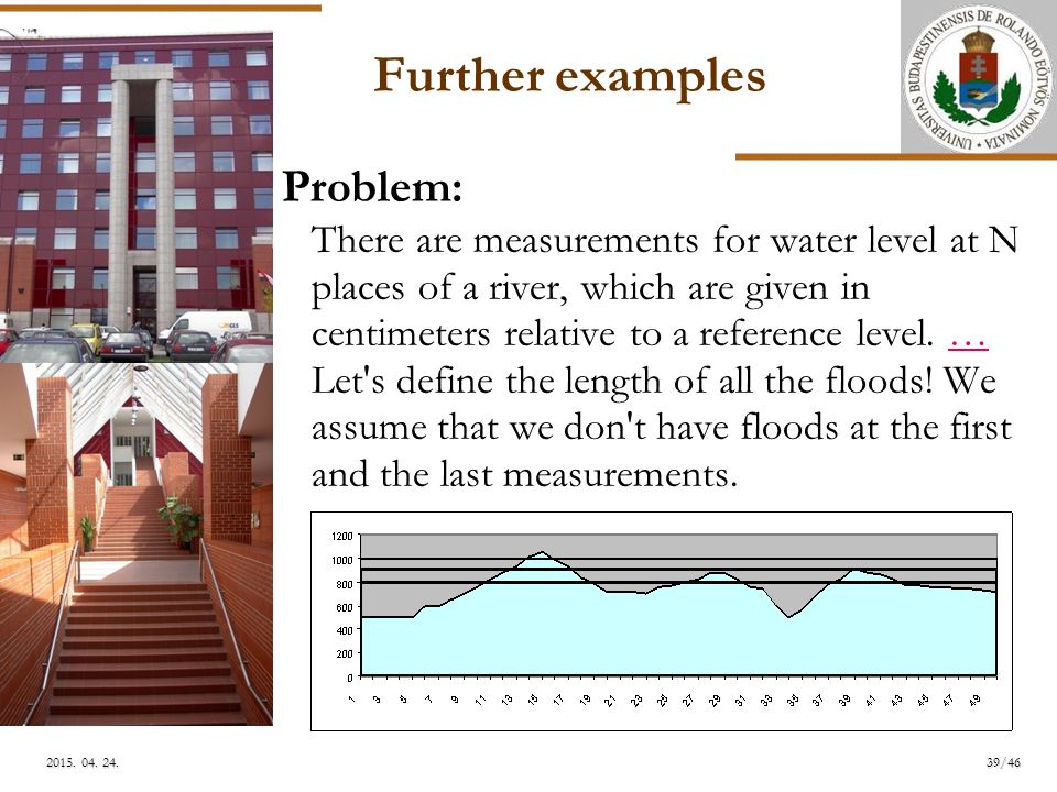 ELTE Further examples Problem: There are measurements for water level at N places of a river, which are given in centimeters relative to a reference level.