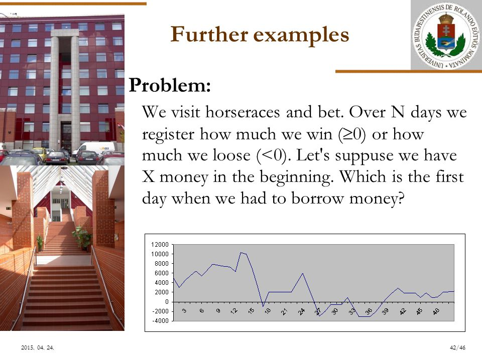 ELTE Further examples Problem: We visit horseraces and bet.