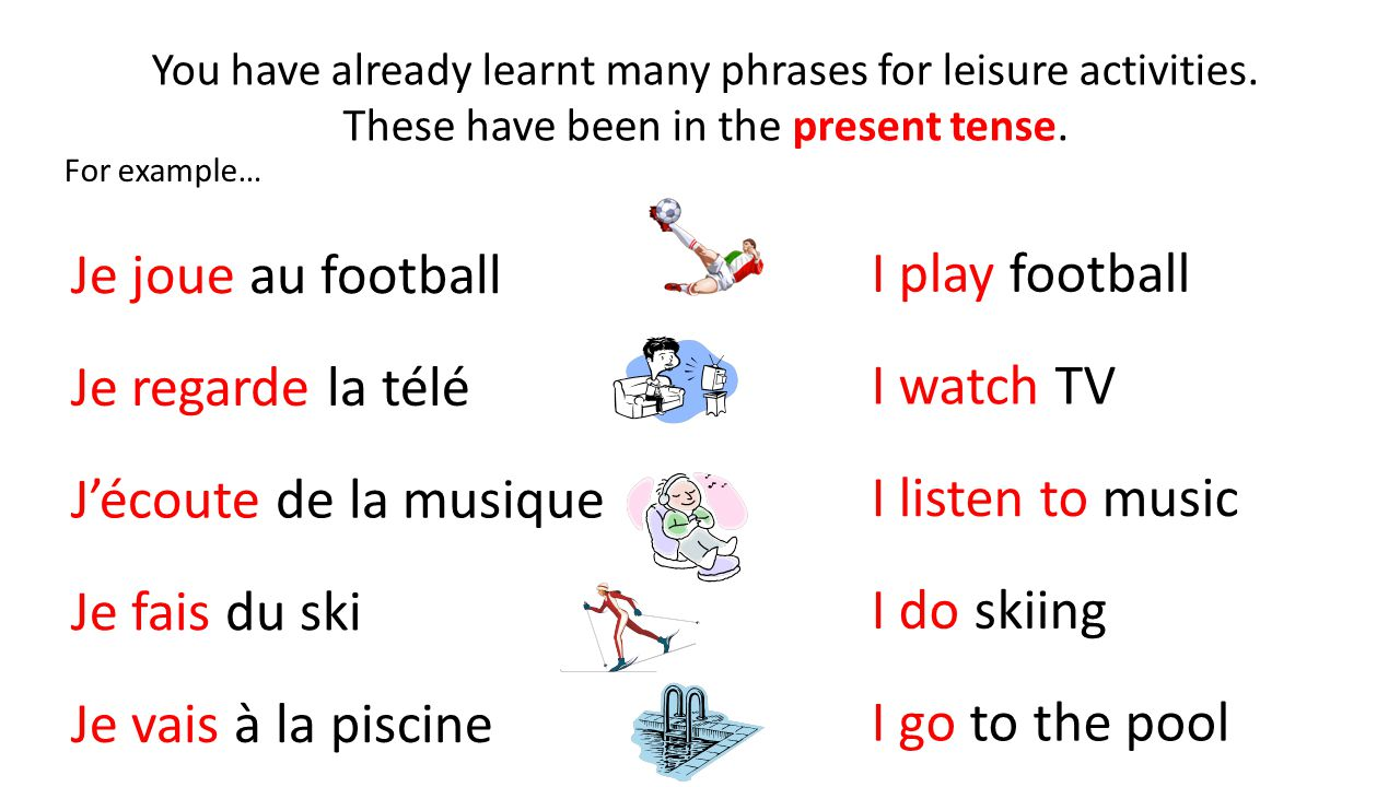 You have already learnt many phrases for leisure activities. These have been in the present tense. For example… Je joue au football Je fais du ski J'é